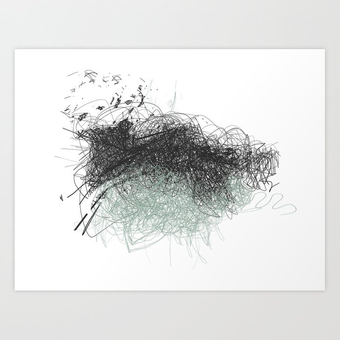 Abstract Line No. 4 - Black and Mint Green Art Print