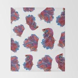 Ocean Theme- Red Blue Betta Fish Throw Blanket