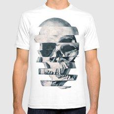 Glitch Skull Mono SMALL White Mens Fitted Tee