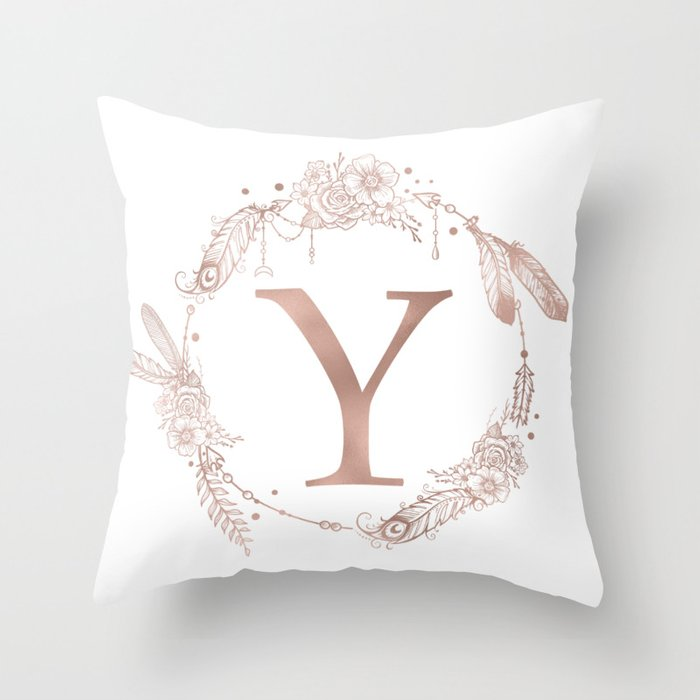 Letter Y Rose Gold Pink Initial Monogram Throw Pillow by ... bfceb796f3a7
