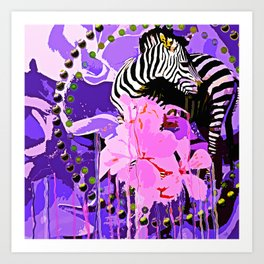 Zebras and Flowers Art Print