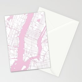 New York City White on Pink Stationery Cards