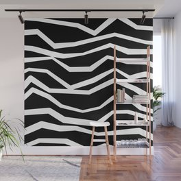 Wavy zig zag lines edgy black and white Wall Mural