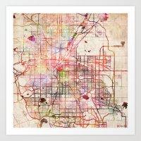 denver Art Prints featuring Denver by MapMapMaps.Watercolors