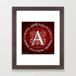Joshua 24:15 - (Silver on Red) Monogram A Framed Art Print