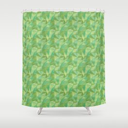 Abstract Polygon Summer Green Cubism Low Poly Triangle Design 2 Shower Curtain
