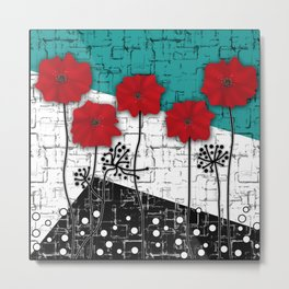 Applique. Poppies on turquoise black white background . Metal Print