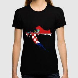 Croatia Map with Croatian Croat Flag T-shirt