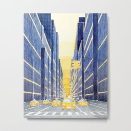 NYC, yellow cabs Metal Print