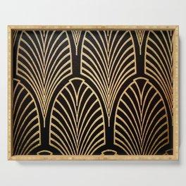 Art nouveau Black,bronze,gold,art deco,vintage,elegant,chic,belle époque Serving Tray