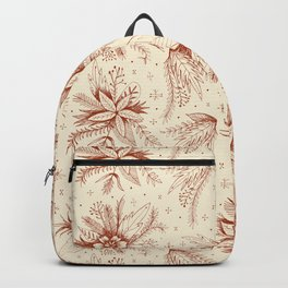 red sketchy floral pattern Backpack