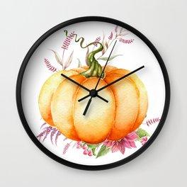 Floral Pumpkin Wall Clock