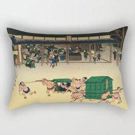 Teahouse in Kusatsu Japan -Woodblock Rectangular Pillow