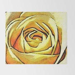 Golden Rose Flower Throw Blanket