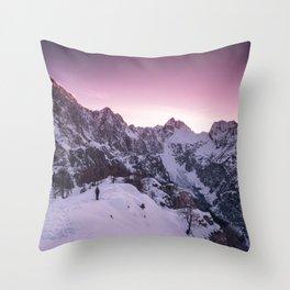 Standing in winter wonderland Throw Pillow