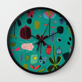 bugs and insects green Wall Clock