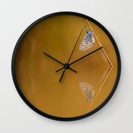 Blue butterfly reflection Wall Clock