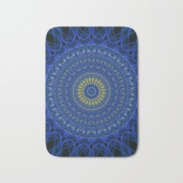 Mandala in dark blue tones with yellow flower Bath Mat