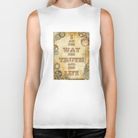 bible verse Biker Tanks featuring Bible Verse Steampunk Way Truth Life by Whimsy and Nonsense