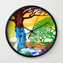 If A Tree Falls In Sicily Color 2 Wall Clock
