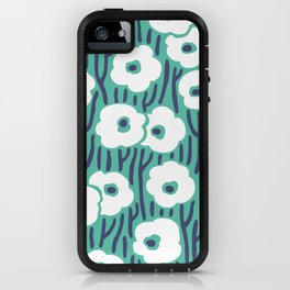 Mid Century Modern Wild Flowers 672 Turquoise and Blue iPhone Case