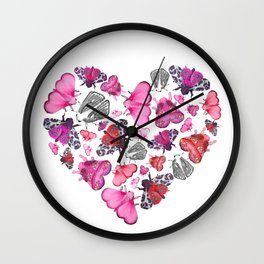 Pink Love of Moths and Butterflies Wall Clock