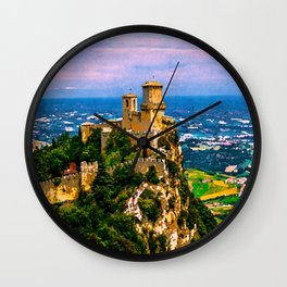 Prima Torre Guaita first fortress tower with brick walls on Mount Titano stone rock. Republic San Marino.  Wall Clock