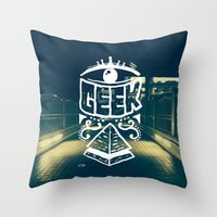 geek Throw Pillows featuring GEEK by YTRKMR