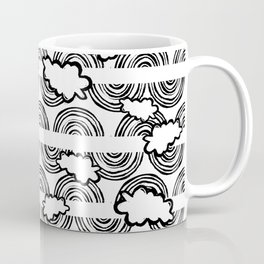 Rainbow Waves-  Black and White - Colour Your Way Coffee Mug