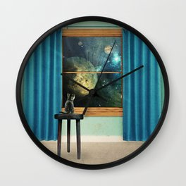 A cat looking outside Wall Clock