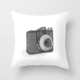 Vintage Analog Camera - Agfa Clack (B&W Edition) Throw Pillow