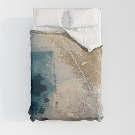 Embrace: a minimal, abstract mixed-media piece in blues and gold with a hint of pink Comforters
