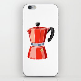 Red Italian Stove-Top Cafetiere iPhone Skin