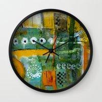 starbucks Wall Clocks featuring Starbucks by Jenny Chatterton