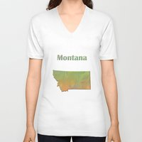 montana V-neck T-shirts featuring Montana Map by Roger Wedegis