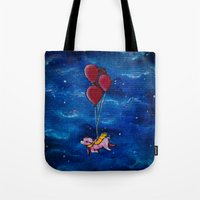 hogwarts Tote Bags featuring To Hogwarts! by Sarah Page