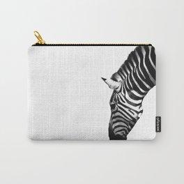 Zebra by Kokatu white background monochrome Carry-All Pouch