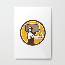 Bartender Carrying Keg Pouring Beer Circle Retro Metal Print