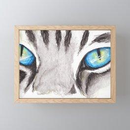 Blue Cat Eyes Framed Mini Art Print