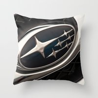 subaru Throw Pillows featuring Subaru Logo by SShaw Photographic