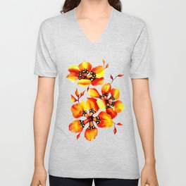Watercolor Sparaxis Elegans South African Floral Pattern Unisex V-Neck