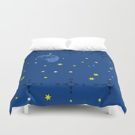 directional compass in space Duvet Cover