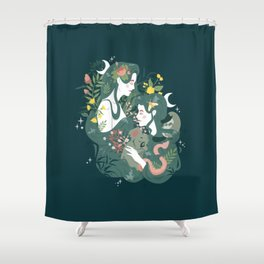 Flora and Fauna Moon phases goddess Shower Curtain