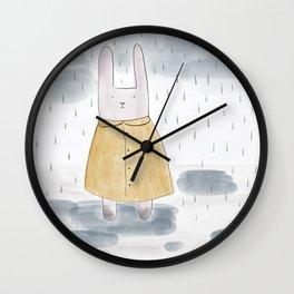 Bunny in a big coat Wall Clock