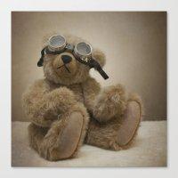 teddy bear Canvas Prints featuring Teddy by Mary Kilbreath