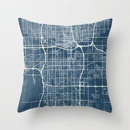 Oklahoma City Blueprint Street Map, Oklahoma City Colour Map Prints Throw Pillow