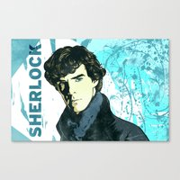sherlock holmes Canvas Prints featuring Sherlock Holmes by illustratemyphoto