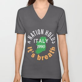 Funny Irish Gift for Soccer lovers in 1990 World Cup A Nation Holds it'sbreath Unisex V-Neck