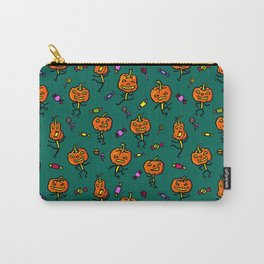 Pattern with dancing pumpkins (on dark green background) Carry-All Pouch
