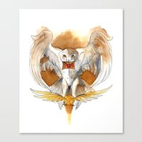 hedwig Canvas Prints featuring Potter Hedwig Owl by Rubis Firenos